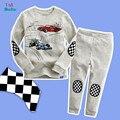 Menino terno t-shirt + calças de algodão novos das crianças das crianças dos desenhos animados longo-de mangas compridas treino terno pijama em casa