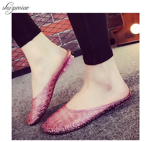 Slippers Shoes Women 2018 Summer Beads Slippers Hollow Out Flats Sandals Summer Bath Slippers Crystal Jelly Shoes Home Furnishin