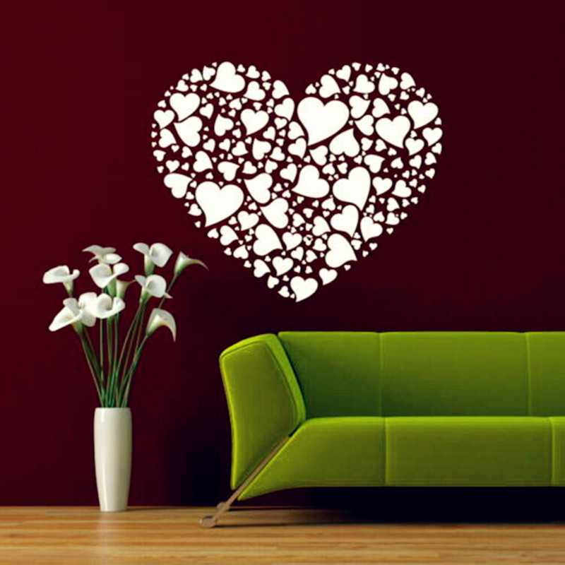 creative heart-shaped wall stickers heart of different shapes and