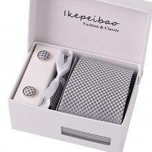 Мужские Широкие итальянские галстуки из полиэстера, запонки, карманные квадратные зажимы в клетку, классическая одежда, деловые, свадебные, вечерние галстуки