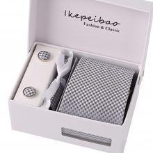 Ikepeibao para amplia poliéster italiano lazos brazalete enlace pañuelo  Clips personalizado comprobado Gravatas corbata de lazos 3c755f4f7804