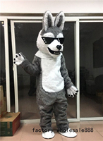 Halloween Gray Fur Husky Dog Mascot Costume Suits Cosplay Party Game Dress Outfits Clothing Advertising Carnival Christmas