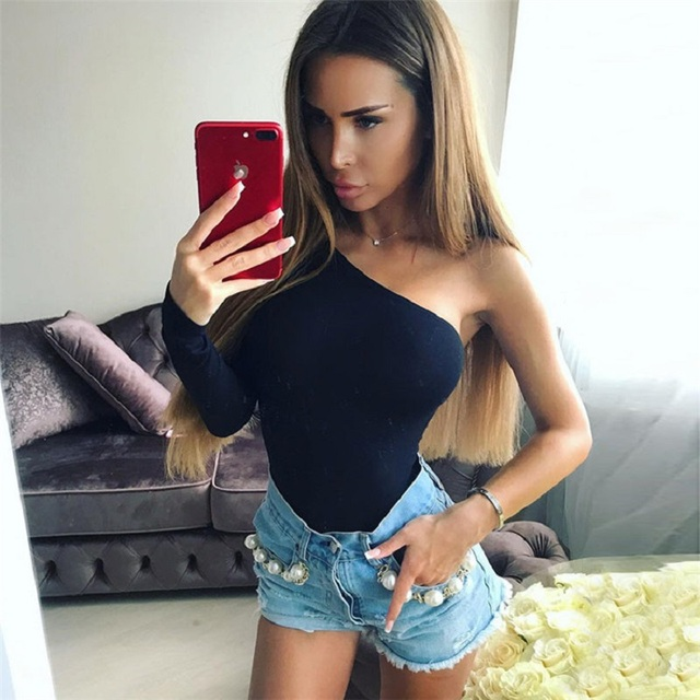 long sleeve black sexy one shoulder spring bodycon one piece body mujer bodysuit women bodies ladies 2019 streetwear clothes 4