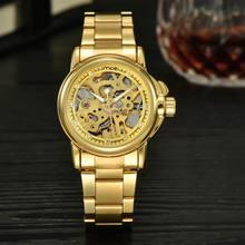 Новый Женский Скелет Механическая Горный Хрусталь Золотые Часы Малый Нержавеющей Стали Автоматическая Самостоятельно ветер женские Часы золотые Часы reloj