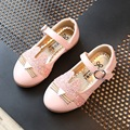 Size 26-30 Princess Pink Golden Girl Leather Shoes Fashion 2017 Spring PU Bowtie Cartoon Sparkle Cat Girls Children Casual Shoes
