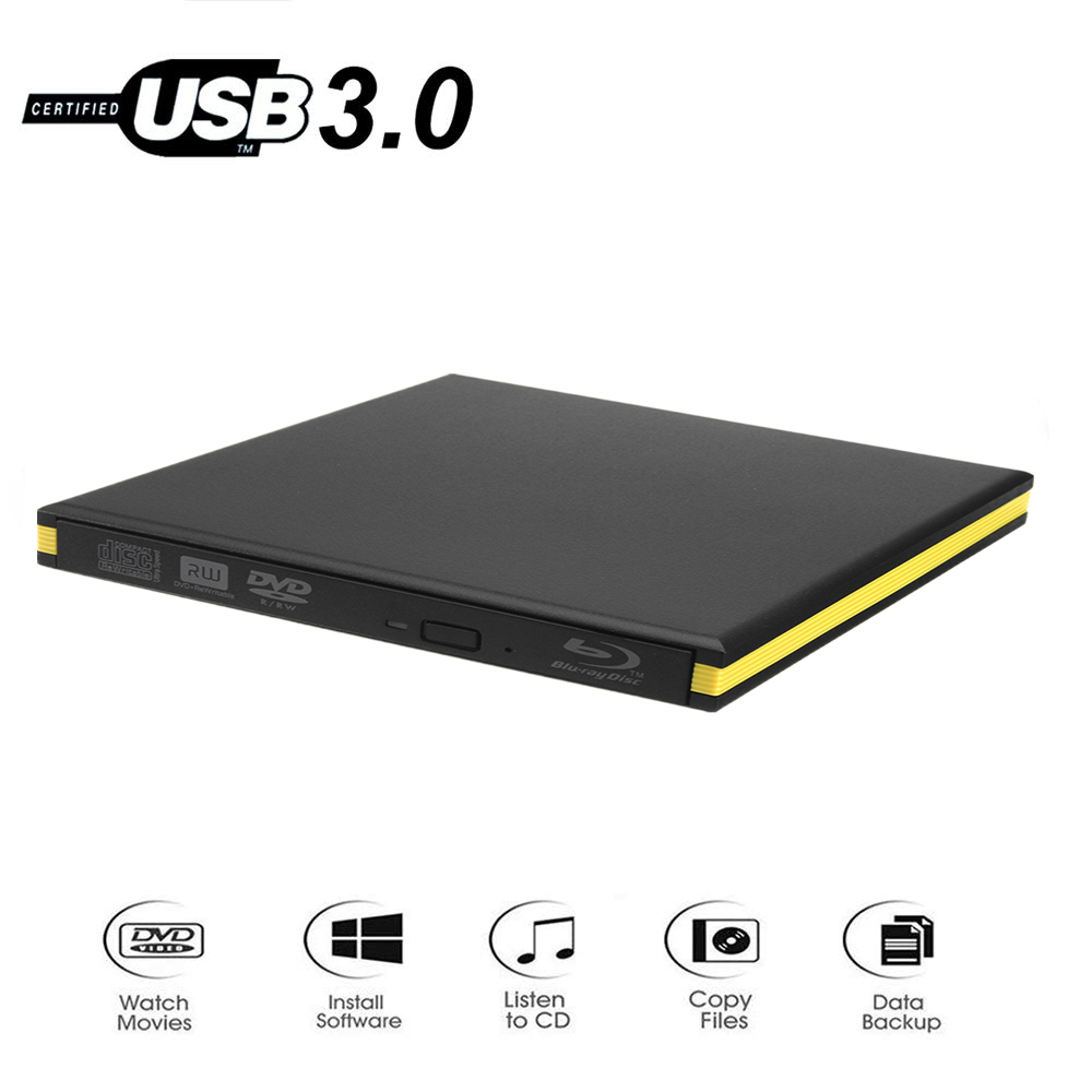 KuWfi External Blu-Ray Drive USB 3.0 Bluray Burner BD-RE CD/DVD RW Writer Play 3D Blu-ray Disc For PC/Laptop
