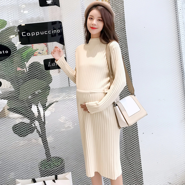 a26dfe821922d 2018 Autumn Winter Fashion Maternity Long Ribbed knitted Sweaters High Neck  Ties Waist Clothes for Pregnant Women Pregnant Dress