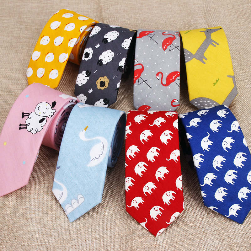 Cotton Men's Colourful Tie Animal Chicken Goat Fox Ties Narrow Kids Children Necktie Slim Skinny Cravate Narrow Thick Necktie