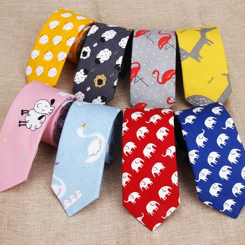 Cotton Men's Colourful Tie Animal Chicken Goat Fox Ties Narrow Kids Children Necktie Slim Skinny Cravate Narrow Thick Necktie