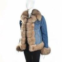 2018 женская новая джинсовая куртка с натуральным лисьим мехом подкладка из кроличьего меха зимняя теплая Модная Толстая натуральная мехова