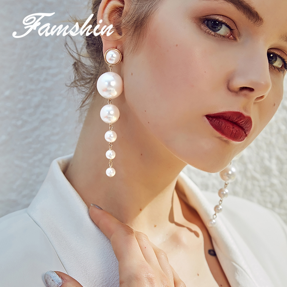 FAMSHIN Trendy Elegant Created Big Simulated Pearl Long Earrings Pearls String Statement Dangle Earrings For Wedding Party Gift