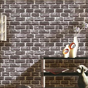 3D Stones Bricks Pattern Wallpaper Living Room Cafe Bar Decor Waterproof Decor Wallpaper /Gray Red Bricks Home improvement 2