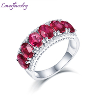 LOVERJEWELRY Genuine Woman Engagement Rings Ruby Jewelry Solid 14K White Gold Natural Diamond Red Ruby Ring Classic Lady Jewelry