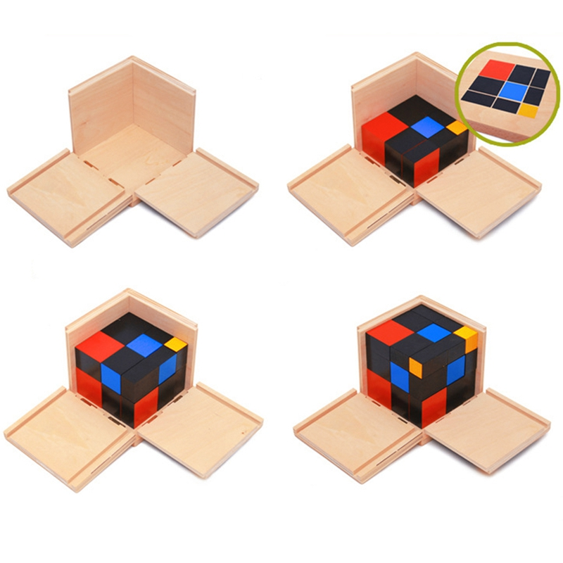 Educational Early Learning Educational Toys Montessori Wooden Trinomial Cube for Toddlers