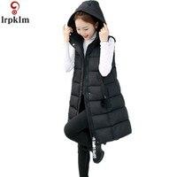 Women Winter Jacket Cotton Vest Sleeveless Coat Women Plus Size 5XL Long Vests Hooded Padded Coats Zipper Women Coat CH654