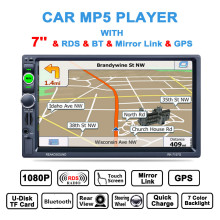 7 Inch 2 Din Bluetooth Auto Car Stereo MP5 Player GPS Navigation AM FM RDS Radio Support Mirror Link Car Rear View Camera цена и фото