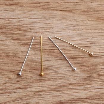500 sztuk partia 20 #215 0 5mm srebrny złoty KC złoty rod miedzi szpilki z główką kulkową igły do koraliki do kolczyków biżuteria ustalenia ozdoba tanie i dobre opinie Beadia 0 05cm Ocena biżuteria Pins needles FZD001-01 Metal 4 colors 20x0 5mm