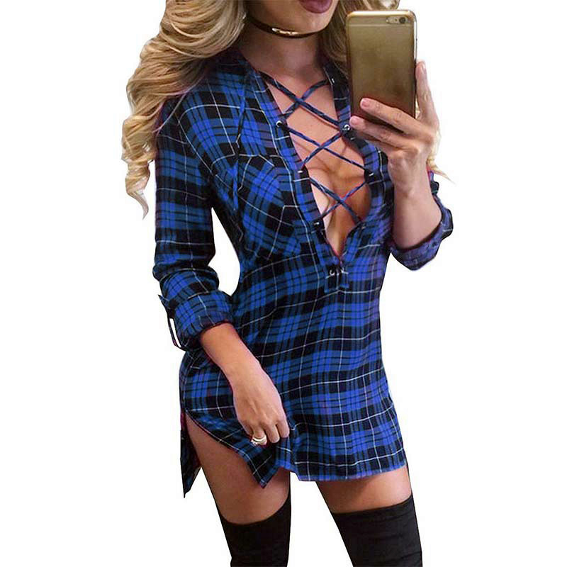 Trendy Sexy Frauen Kleid Spitze Up Bodycon Tiefem V-ausschnitt Plaid Mini Shirts Kleider Blau Langarm Split Up Verband Kleid Plus Größe