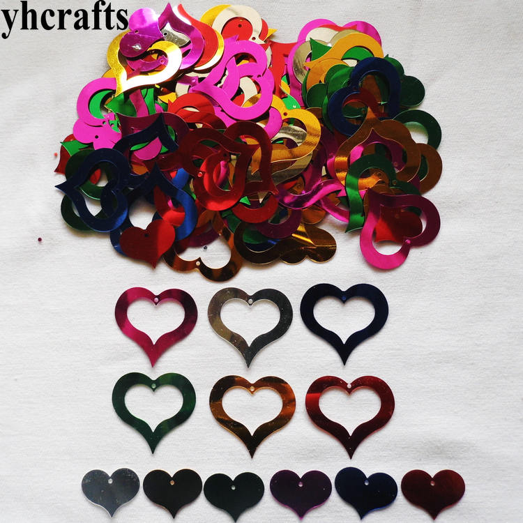 20gram/Lot Double Empty Heart Sequin Craft Material Kindergarten Crafts Intelligence Creative Activity Item Wholesale OEM