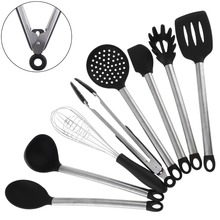 8pcs Super Sturdy Cooking Utensils Set Non Stick Silicone Tips For Pots and Pans, Kitchen Tool