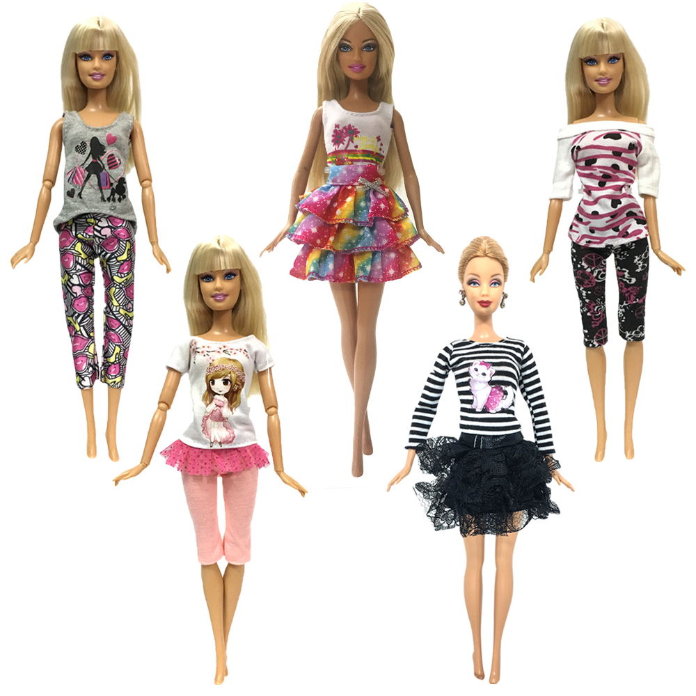 NK 5 Pcs Handmade fashion clothes For Barbie Doll dress baby girl birthday new year present for kids new 20 pcs set handmade party 12 clothes fashion mixed style dress 8 pair accessories shoes for barbie doll best gift girl toy