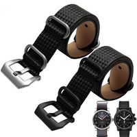 24mm Hot Sell New Man Black VINTAGE Watch Band Strap Belt Genuine Leather Pin Silver Brushed