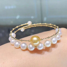 Sinya pure 18k AU750 gold tube Bangles bracelet for women girl Mom lover with Natural Golden pearls and white High qulity