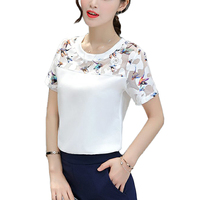 2017 Fashion women blouses Summer o-neck short Sleeve lace patchwork blouse women tops white shirts plus size blusa feminino