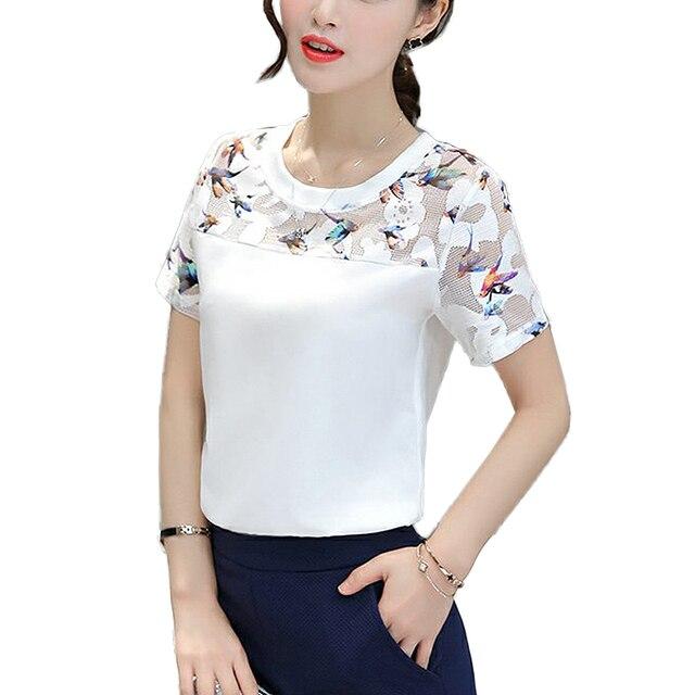Мода 2017 г. женские блузки лето О-образным вырезом с коротким рукавом Кружева Лоскутная Блузка Женщины топы белые рубашки Большие размеры Blusa feminino