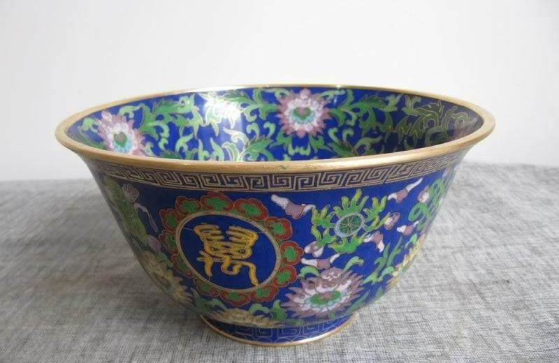 Chinese Classic Pure 100% Copper Cloisonne Enamel Bowl