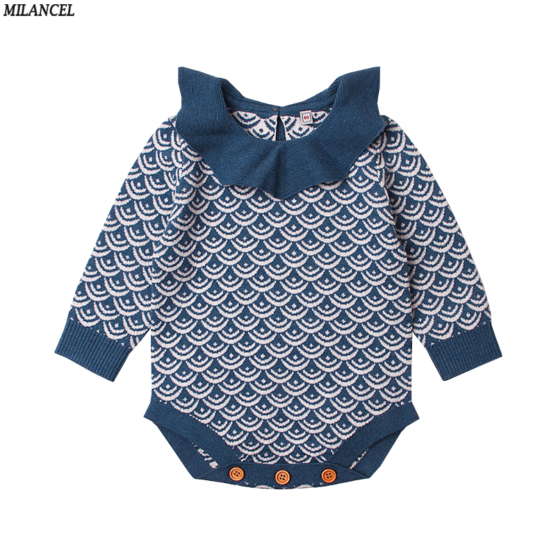MILANCEL 2018 New Girls Bodysuits Knitted Baby Boys Clothing Long Sleeve Baby Boys Bodysuits Cute Baby Girls Clothes Baby Jumper