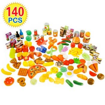 140Pcs 과일을 절단 야채 놀이 어린이 주방 완구 미니어처 안전 식품 세트 어린이를위한 교육 클래식 장난감