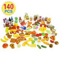 140Pcs Kids Cutting Fruits Vegetables Pretend Play Kitchen Toys Miniature Safety Food Sets Educational Classic Toy for Children