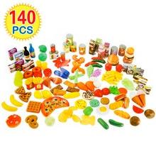Juegos de cocina en miniatura para niños, juego de simulación de cortar frutas y verduras, juegos de comida de seguridad en miniatura, juguete educativo clásico para niños, 140 Uds.