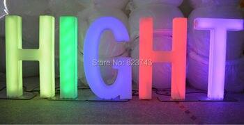 H82CM rechargeable coloré lumière LED mots et chiffres étanche lettres lumineuses signe IR contrôle lampadaire LED extérieur/intérieur