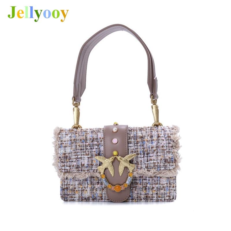 Genuine Leather Rivet Shoulder Bag Women 100% Cowskin Golden Swallow Chain Crossbody Bag Luxury Designer Hairy Clutches Louis GG цена 2017