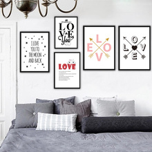 Love Oil Painting On Canvas DIY Home Decor Romantic Painting Wall Art Lover Quotes Poster Bedroom Decorative Nordic style