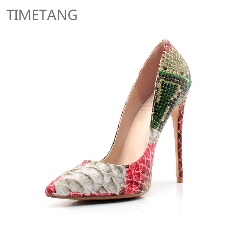 TIMETANG New Arrived Sexy Pointed toe Snake skin Thin High heel pumps 8/10/12 height Fashion slip-On stiletto women Party shoes new arrived ladies thin high heel shoes