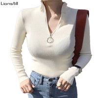 Half Turteneck Knitted Sweater Women Zipper Neck Elastic Slim Solid Knit Sweaters Pullovers Bodycon Sexy Sweater