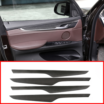 4pcs Real Carbon Fiber  Interior Door Decoration Panel Cover Trim For BMW X5 F15 2014-2018 Car Accessories