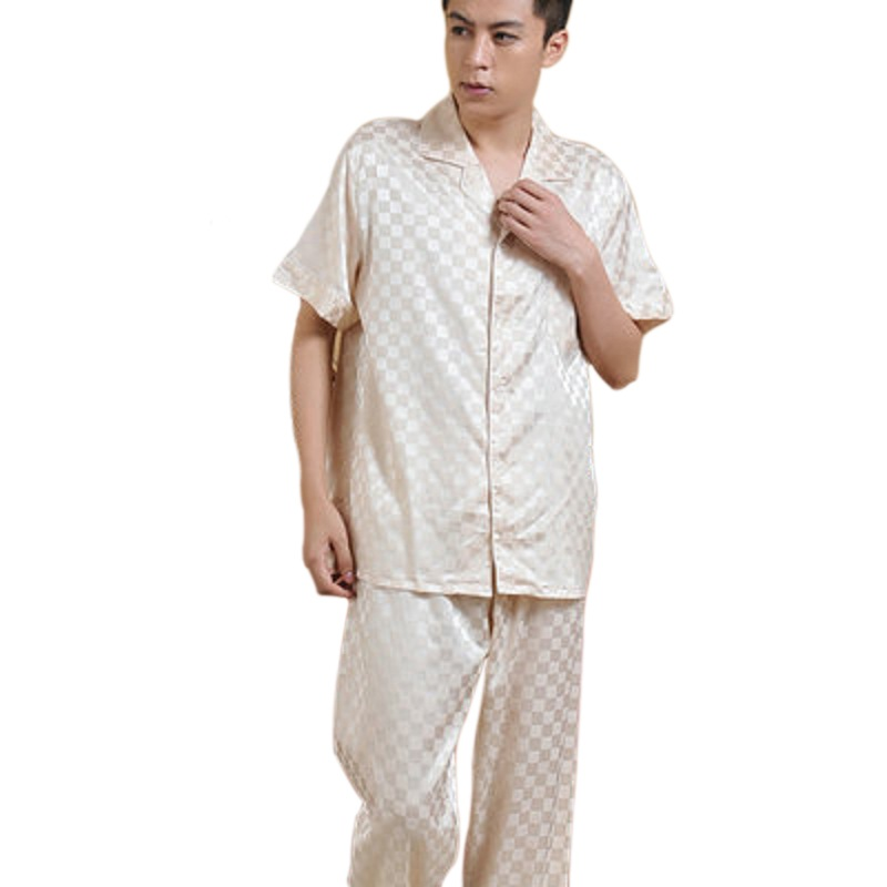 Chinese Style Sleepwear Male Silk Short Sleeve Length Pants Pyjamas Thin  Silk Pajama Sets Spring   Autumn High Quality Silk S05-in Men s Pajama Sets  from ... 46394e6bf