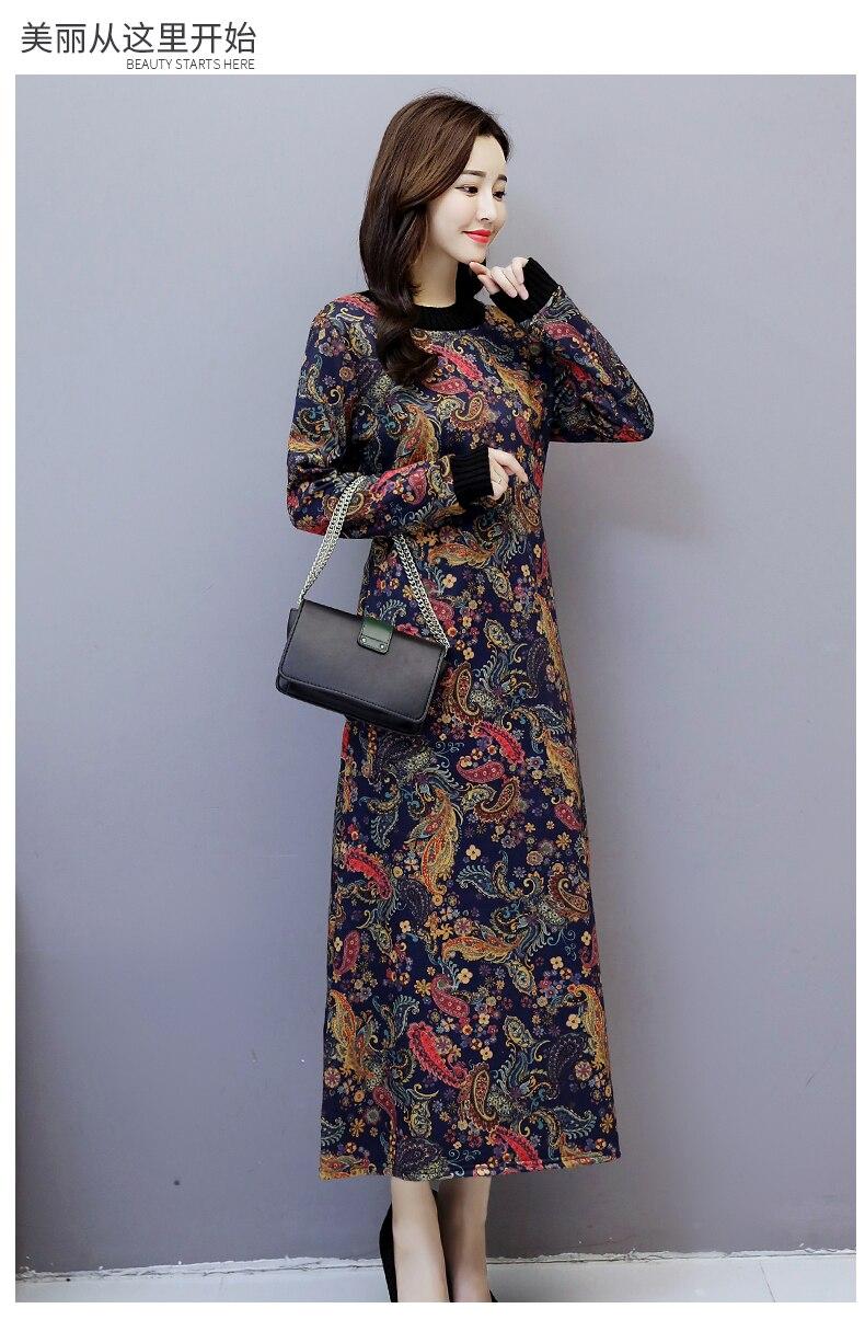 6912 Women Dress Elegant Long Sleeve Plus Size Print Vintage Velvet Warm Mom Maxi Dresses for Women Winter Dress Evening Party 2018 4