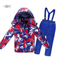 2018 children winter ski Snow suits jacket+overalls child 30 degree sports kid boy girl 4 6 8 10 12 jacket pants clothes set