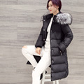 2017 New Arrival winter women A-line down jacket fashion casual Solid With fur collar Long coat 2 colors jacket women's winter