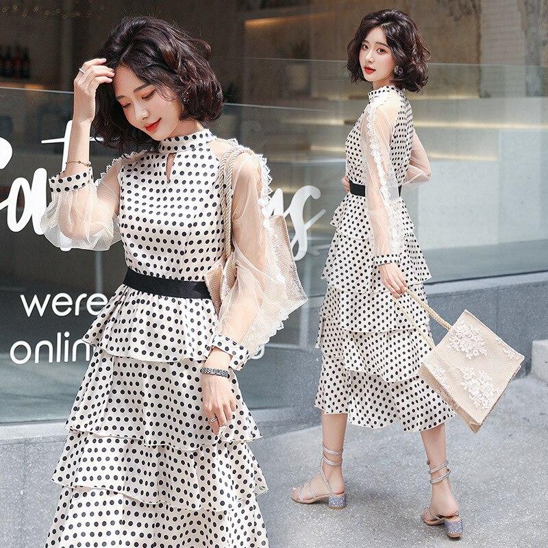 แฟชั่นชุดชีฟองใหม่โปร่งใสเสื้อแขนยาว polka dot ชุดสุภาพสตรี elegant temperament ยาวชุด-ใน ชุดเดรส จาก เสื้อผ้าสตรี บน   3