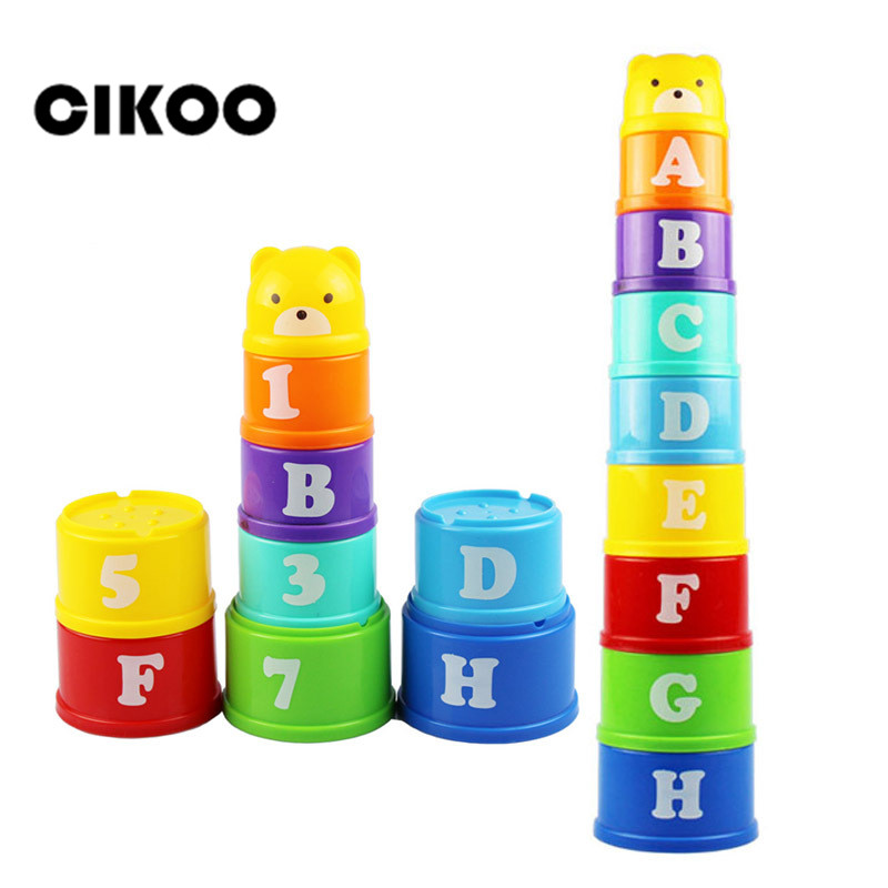 9PCS Stack Cup Tower Toys Educational Baby Toys 6Month+ Figures Letters Foldind Stack Cup Tower Children Early Intelligence ampeg micro cl stack