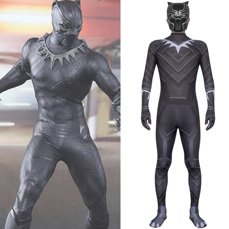 Captain America: Civil War Black Panther Cosplay Costume Adult Child Jumpsuit Bodysuit Mask One-pieces Halloween Party Costume