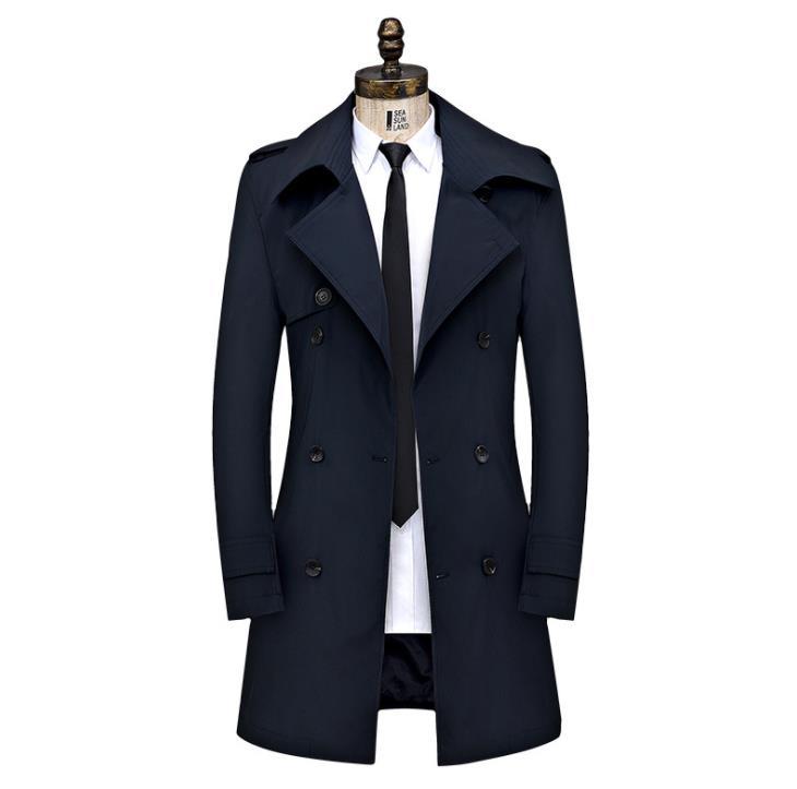 الرجال خندق معطف الخريف الشتاء رجل طويل معاطف سترة الأعمال عارضة مزدوجة الصدر الستر زائد حجم 8XL الذكور ملابس للرجال-في معطف مبطن من ملابس الرجال على  مجموعة 1