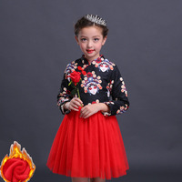 Chinese New Year Pageant Party Dresses For Girls Kids Vintage Christams Ball Gowns For Children Winter