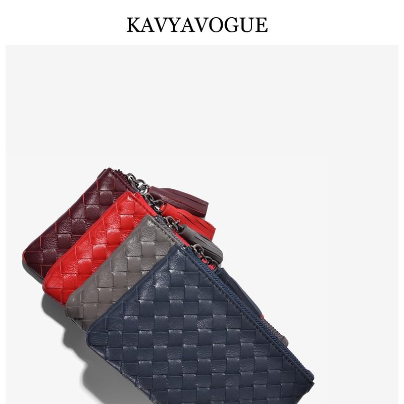 KAVYAVOGUE New Sheepskin Wallet Women Coins Purse Small Wallet For Women 2019 Genuine Leather Bag Key Organizer